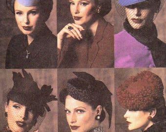 Vogue Pattern 7657 Vintage Hats 1940's Fascinator Pillbox Hat Veil & Fur Millinery Sewing Pattern Designer Costume Accessories Pattern UNCUT
