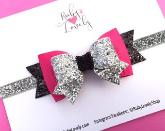 Pink and Silver Hair Bow, Pink Silver Black Hair Bow, Hot Pink Hair Bow, Summer Headband, Silver and Bkack glitter bow, Summer Bow, Hair Bow