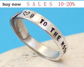 "I love u to the moon and back"".. Custom Aluminum Ring - Adjustable Wrap Ring.. Personalized  Ring.. Hand Stamped. YOu WiLL LOvE iT"