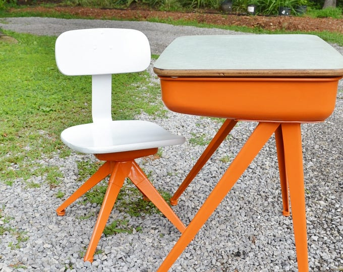 Vintage School Desk and Chair Child Size Metal Orange White Painted Wood Seat and Back Mid Century Industrial PanchosPorch