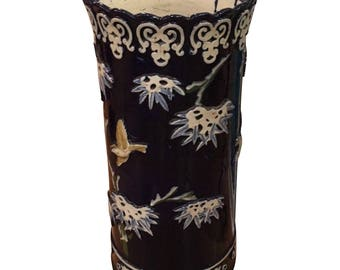 Huge Antique Majolica Pottery Umbrella Stand