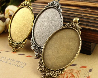 Vintage Photo Glass Cabochon Blank Pendant Cameo Bases 30*40mm Oval Cabochons Tray Glass Cabs Bases Jewelry Necklace Pendants PTO34-A3795