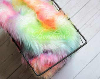 SALE - Rainbow Color safari collection Cozy, Rainbow Faux Fur Nest Newborn Photography Prop - Plush Long Pile, Stuffer, Filler RTS