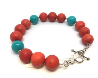 Natural Red Sponge Coral & Turquoise Beaded Bracelet