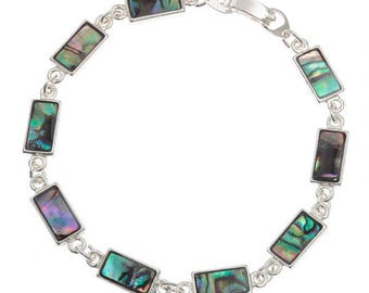 Tide Jewellery Paua Shell Rectangle Bar Bracelet Gift Boxed