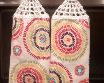 2 New Hanging kitchen towels with crocheted top / fiesta sparks