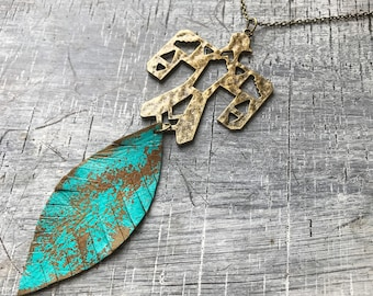 Hammered Brass Thunderbird & Rustic Patina Leather Feather Necklace, Verdigris, Statement, Eagle, Boho, Bohemian, Gypsy, Upcycled, Gift