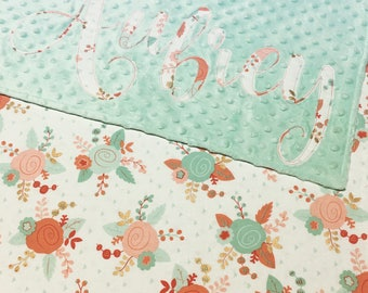 Teal, Coral and Mint Baby Blanket, Floral Minky Blanket, Baby Blanket, Girl Baby Blanket, Girl Baby Bedding, Girl Minky Blanket