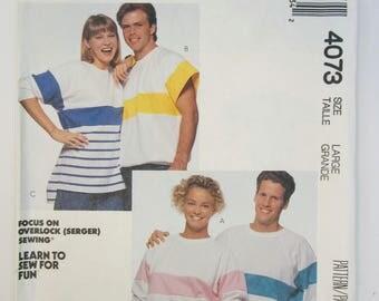 McCall's 4073 Knit Top Misses' Men's Teen Boy's Size Large Uncut