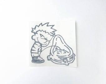 Calvin and Duchamp vinyl decal