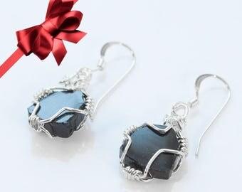 Black Tourmaline Earrings, Wire Wrappped Earrings, Black Jewelry, Silver Black earrings,Black Tourmaline Jewelry, Sterling tourmaline slices