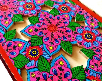 Wooden Jigsaw Puzzle FLOWERS OF PARADISE Custom puzzle Handcrafted Wooden puzzle Name Puzzle  Colorful Brain teaser Jigsaw puzzle Hand cut