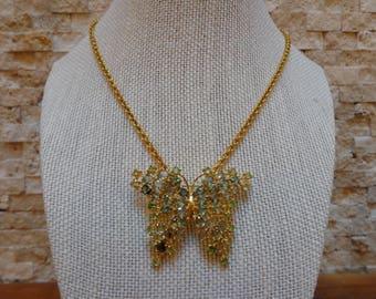 Green Sapphire Butterfly necklace brooch in 18k Gold Vermeil, 16 inch