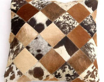 Natural Cowhide Luxurious Patchwork Hairon Cushion/pillow Cover (15''x 15'')a144
