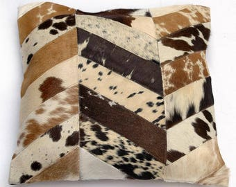 Natural Cowhide Luxurious Patchwork Hairon Cushion/pillow Cover (15''x 15'')a275