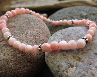 Delicate Pink Mother of Pearl and Sterling Silver Elastic Bracelet
