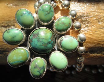 Turquoise and Sterling Flower Pendant on Sterling Navajo Pearl Necklace