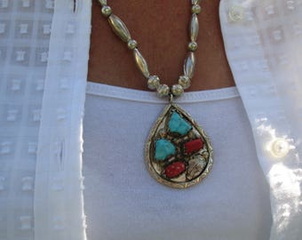 Coral and Turquoise on Navajo Pearl Necklace