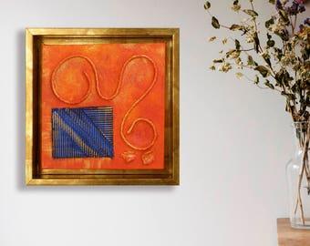 Abstract minimalist, Modern artwork, Golden frame, Abstract painting, Abstract home decor, Abstract wall art, Wall art ideas, red abstract