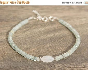 Close Out Sale Blue Topaz Moonstone Sterling Silver Bracelet