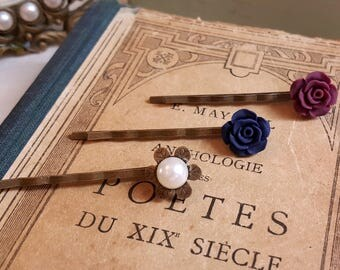 Set of 3 floral Petite bobby hair pins Navy blue and burgundy flowers Pearl accent Shabby chic pins Gift under 10