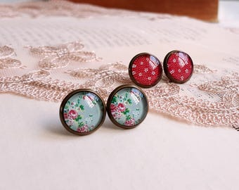 Romantic floral print Stud earrings Cabochon earrings Set of 2 pairs Gift under 10 Red and sage green earrings Cottage chic