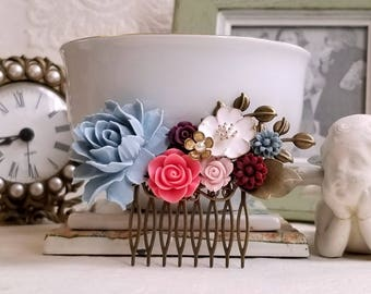 Dusty blue and flamingo pink Burgundy and pink flower Rustic bridal comb Antique gold flower Shabby chic wedding comb