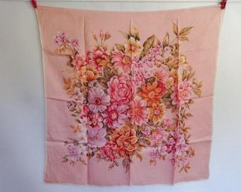 Vintage Scarf Pink flower scarf 74cm x 75cm