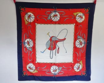 Vintage French Scarf equestrian Horse saddle blue red white Modes et Travaux