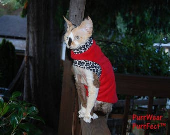 SlipOn/SlipOff™  Fleece Sweater for Sphynx, and all cats. Sphynx cat clothing