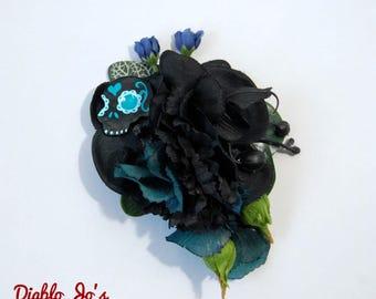 Sugar skull Black Hair Flower, Day of the Dead, Dia de los Muertos, Mexican style