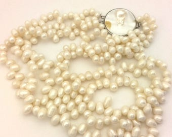 Vintage Genuine White Potate Pearl Necklace Handmade 3 Row Nice (VF018)
