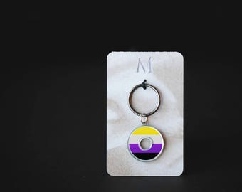 Non Binary Pride Keychain | Resin Coated