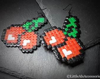 Cherry Jewelry, Video Gamer, Cherry Earrings, Pacman Earrings, Retro Games, Gamer Gifts, Cherries, Pixel Earrings, Plastic Dangle, Quirky