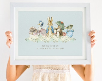 Peter Rabbit Christening Print -- Instant Download -- A4 Peter Rabbit print, baptism print, beatrix potter print, jemima puddle duck print