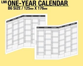 2018 / B6 1-year Calendar / fold into B6 - Inserts Refills Filofax Binder Collins