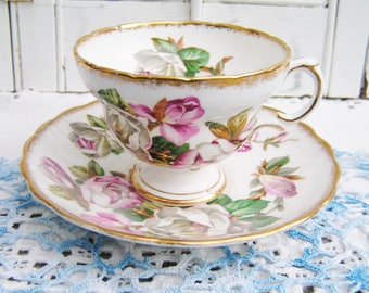 Vintage Rosina Magnolia Tea Cup and Saucer English Bone China Tea Party Bridal Shower Tea Cup Cottage Chic Made in England