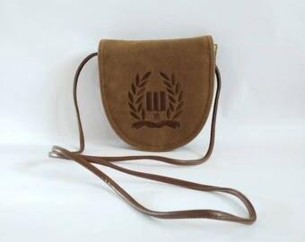 1980's leather bag vintage leather bag Gabrielle Battini  brown leather bag 1980's shoulder bag vintage cross body bag ladies vintage bag
