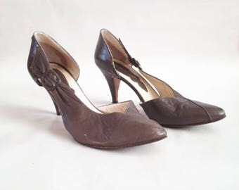 Vintage high heel shoes slipon shoes brown vintage shoes Shoes Vauuel 1980's vintage pumps brown vintage pumps ladies high heels size 38.5
