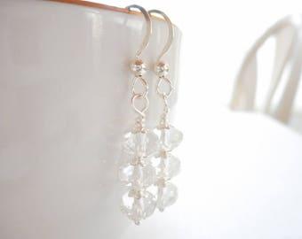 Clear Czech Glass Earrings, Silver Dangle Earrings, Czech Glass Jewelry, Stacked Earrings, Beaded Drop Earrings, Simple Everyday Earrings