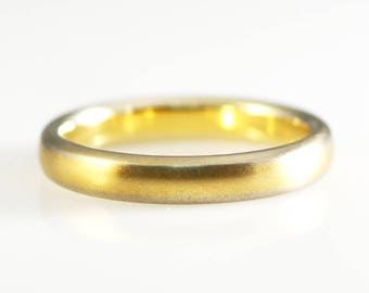 14K Yellow and White Solid Gold Two Tone Satin/Brushed Band Size 11