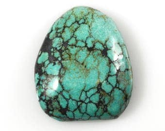 Natural Kingman Spiderweb Turquoise Stabilized Freeform Cabochon/ 27.22 Carats, 25x21.4mm/ Not Backed