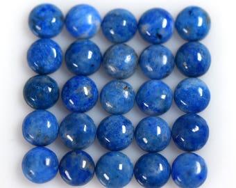 Natural Denim Lapis Lazuli 6mm Round Cabochons Twenty Five Piece Lot