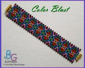 COLOR BLAST Peyote Bracelet Cuff Pattern