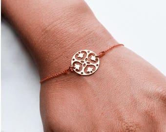 "Bracelet silver plated rose gold 24 K ""Openwork round"""