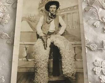 Wild West Cowboy with Questionable Style Photo Postcard