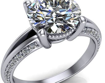 Lydia Round Forever One Hearts & Arrows Moissanite Milgrain Eloquise Split Shank with Side Diamond Ring