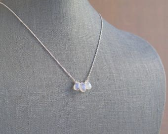 Moonstone Necklace - June Birthstone - Sterling Silver or Gold Filled - Triple Stone