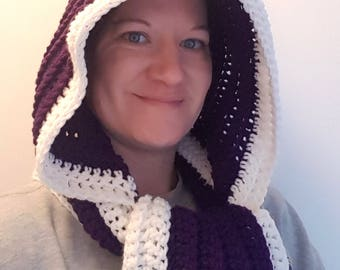 Ultra Violet Hooded Scarf Crochet Pattern - Hooded Scarf Pattern - Crochet Scarf Pattern - Scoodie Pattern