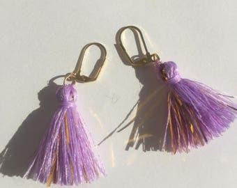 Purple & Gold Tiger Tassel Drop Earrings
